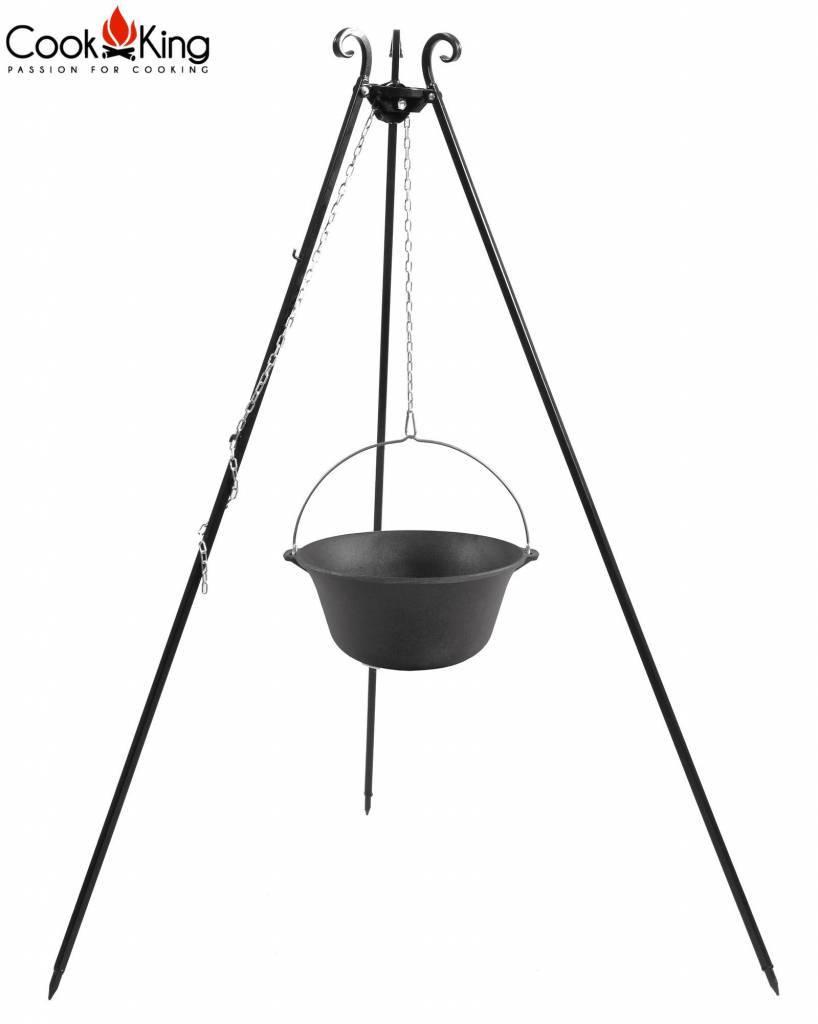 Statief Cookking recht 180 cm met gietijzeren ketel met emaille binnenzijde – Recht statief 180cm + gietijzeren ketel met emaille binnenzijde 8 liter