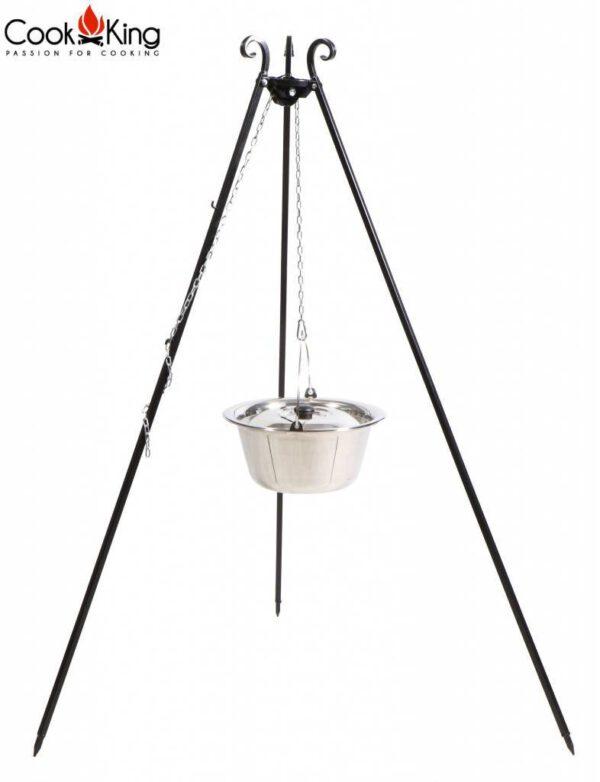 Cookking statief recht 180cm met RVS ketel – recht statief 180cm met RVS ketel 10 Liter