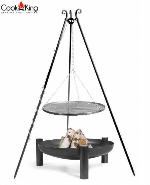 Statief 180cm + grillrooster + vuurschaal Palma (set) – Statief 180cm + grillrooster 70cm + vuurschaal Palma 80cm