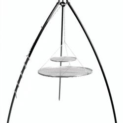 Driepoot 200 cm met dubbel RVS grillrooster