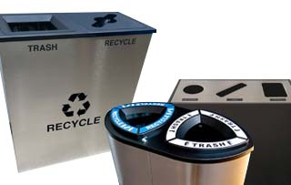 Stainless Steel Trash & Recycling Bins