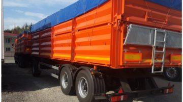 Самосвальный прицеп зерновоз на пневмоподвеске СЗАП 8538-20-01, объем 38 куб.м