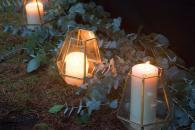lanterns and eucalyptus