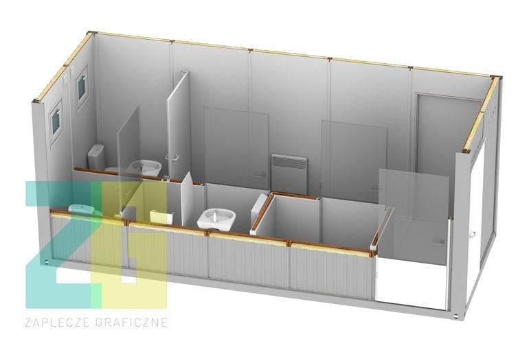 kontener socjalny - wnętrze 3d