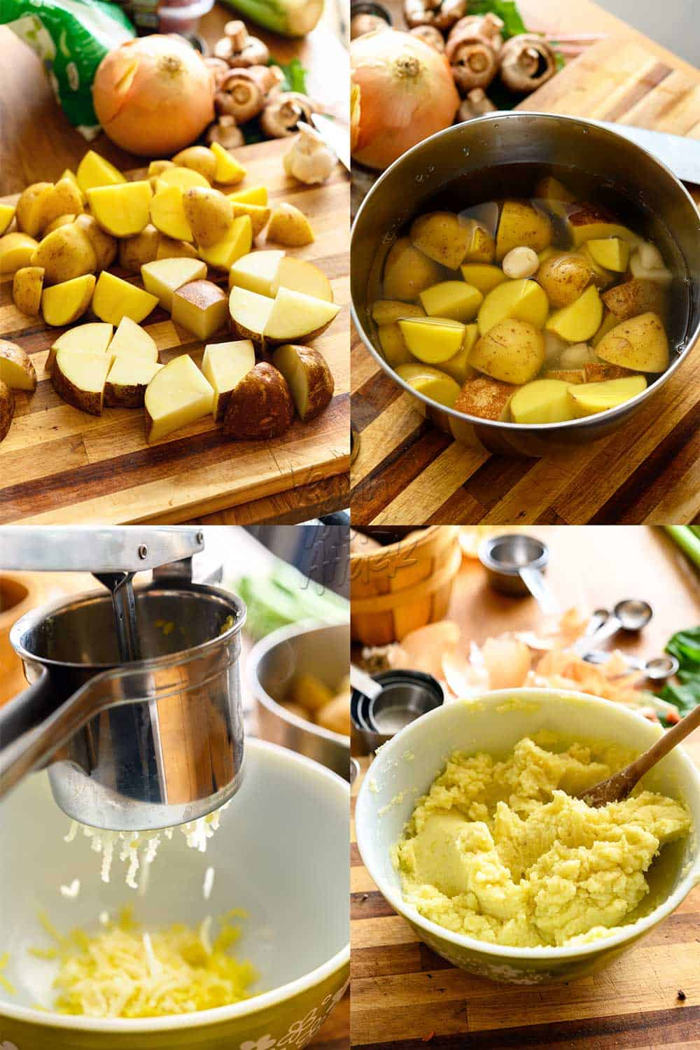Upper left: chopped Yukon gold and russet potatoes chopped on a cutting board, Upper right: potatoes in a pot with garlic cloves, covered in water, on a cutting board, Bottom left: squeezing potatoes through a ricer into a bowl, Bottom right: vegan mashed potatoes in a mixing bowl on a cutting board