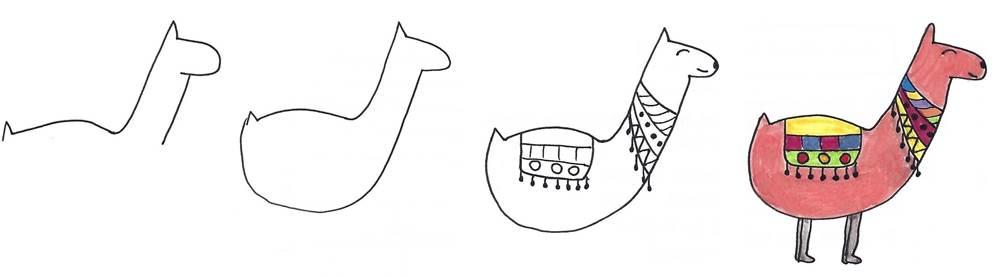 alpaca line drawing