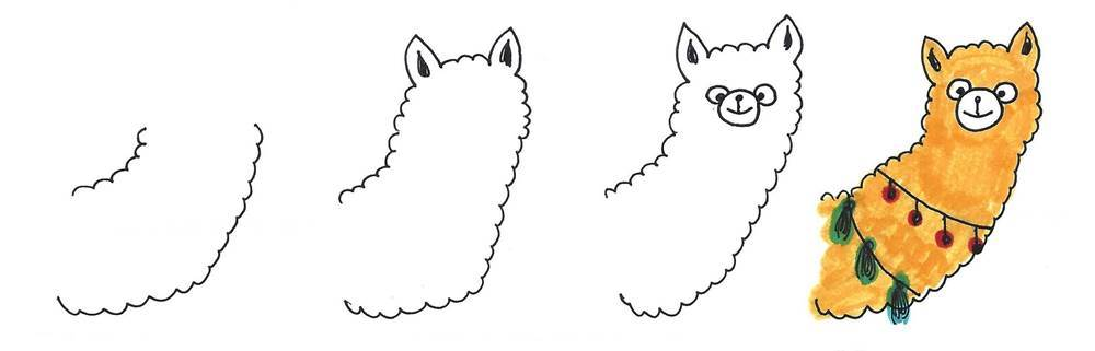 alpaca drawing easy - cute alpaca cartoon