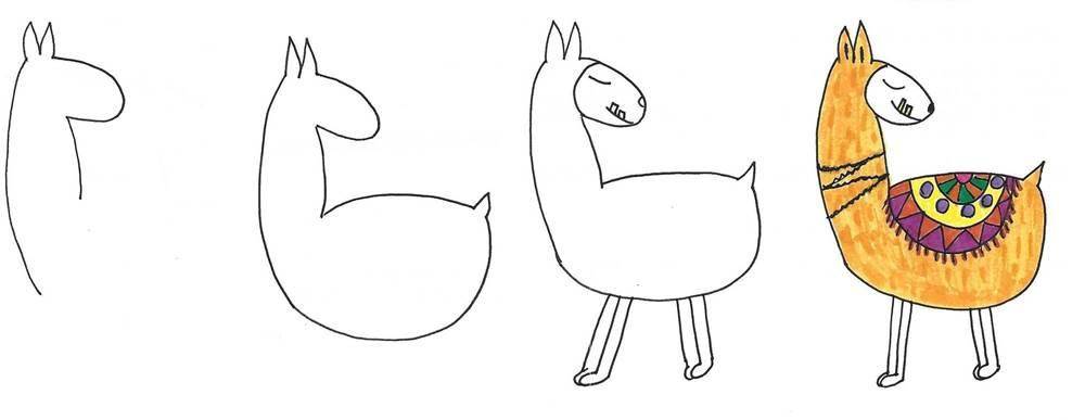 funny llama alpaca animal drawing