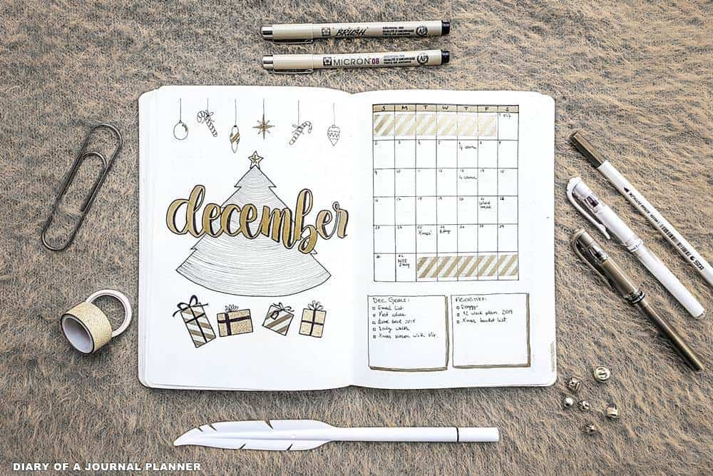 December bullet journal Christmas spreads