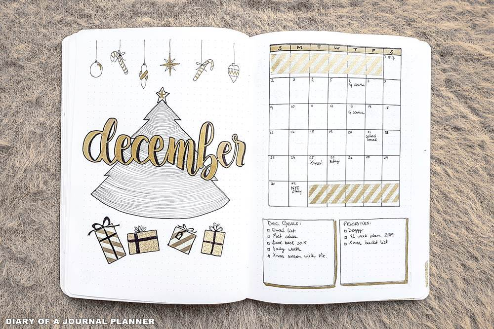 December bullet journal spread ideas
