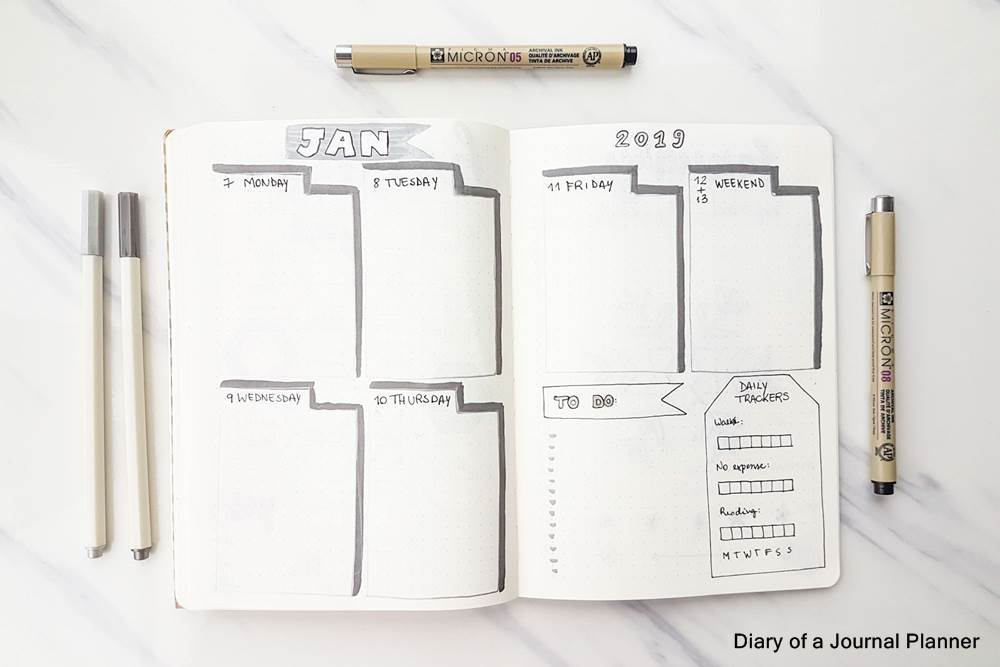 January bullet journal weekly payout
