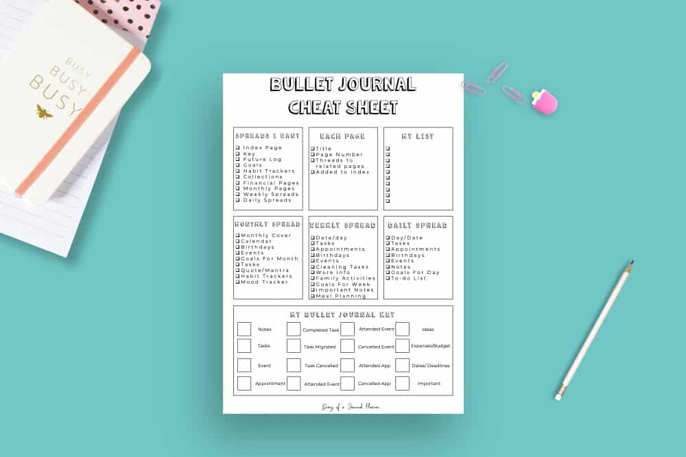 Cheat Sheet Bullet Journal Printable