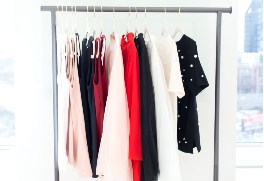 simple wardrobe hanging on a rack-declutter your wardrobe