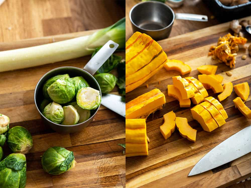 Brussels and Chopped Delicata Squash