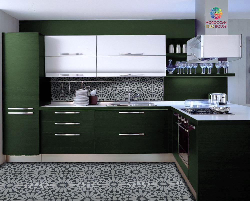 Modern Kitchen With Grey Tiles Pattern And Olive Green Cupboards