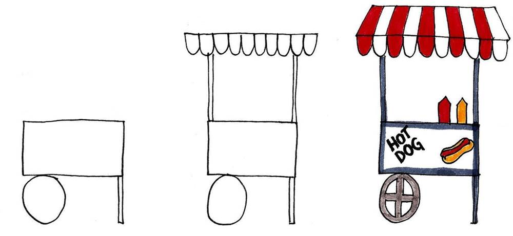 how to draw a hot dog cart stall