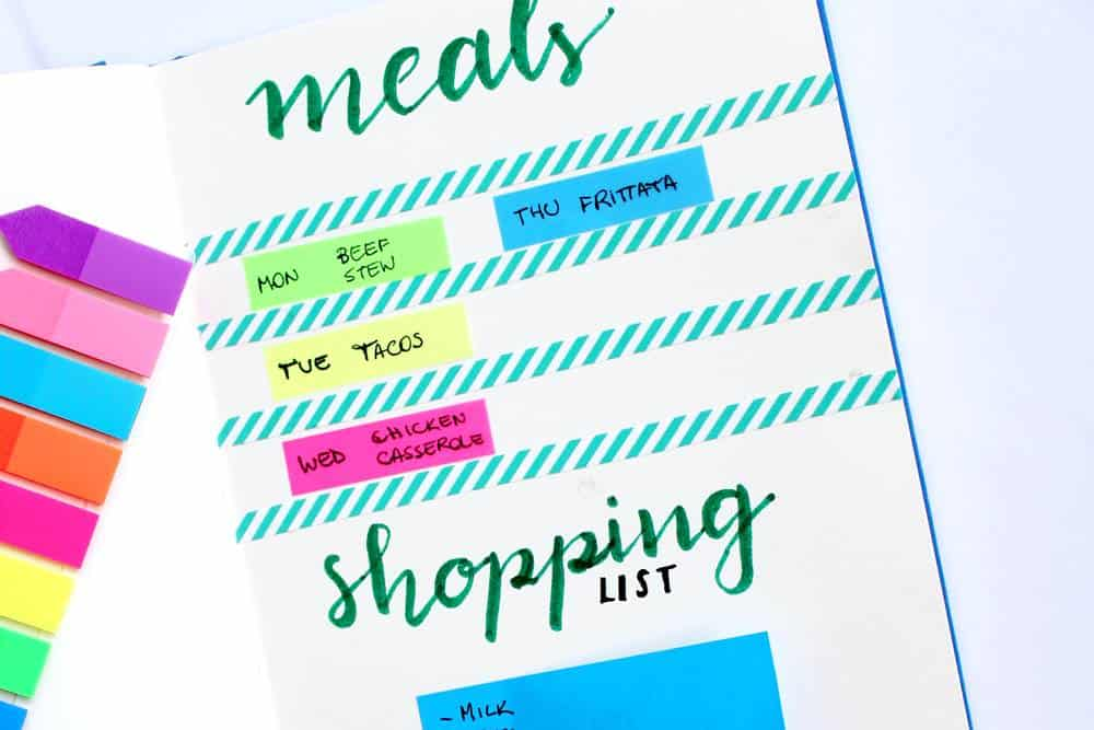 learn how to use a bullet journal meal planning system