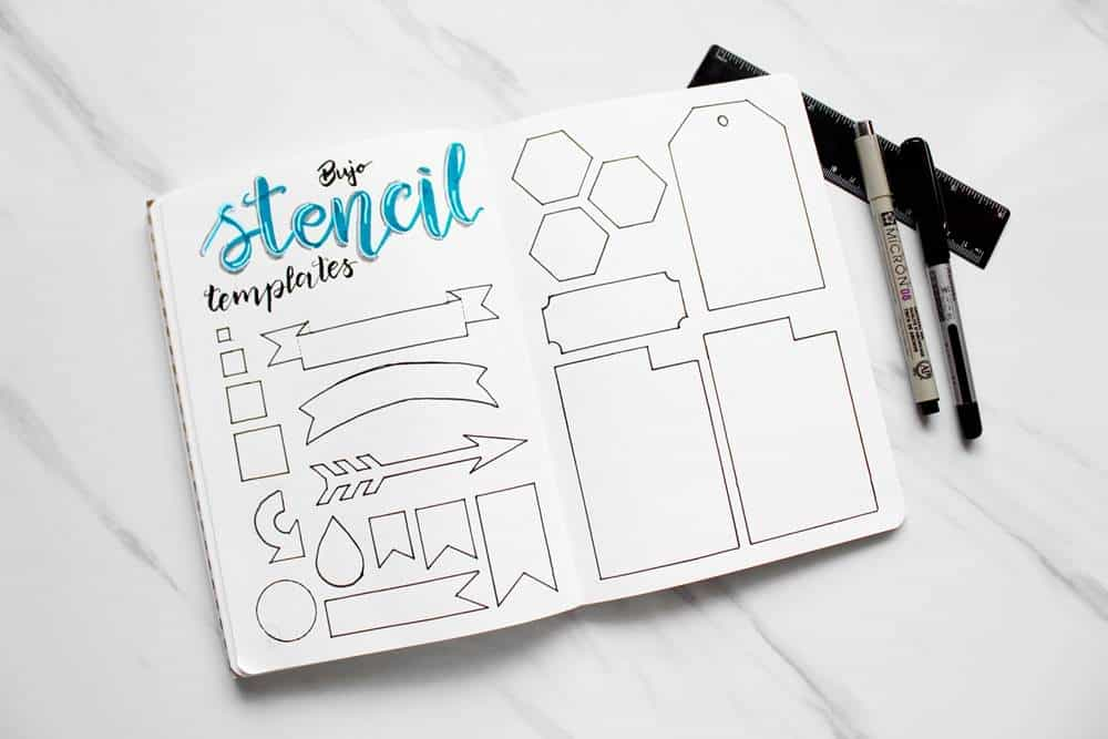 Bullet Journal Stencil DIY Tutorial, homemade stencils for planners or bujo