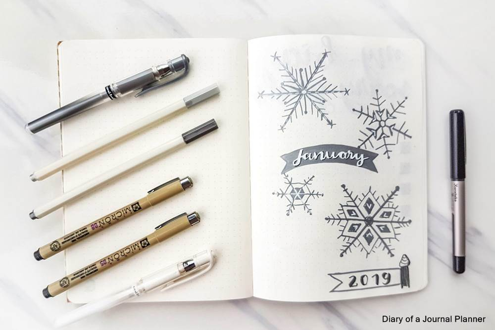 Winter bullet journal themes