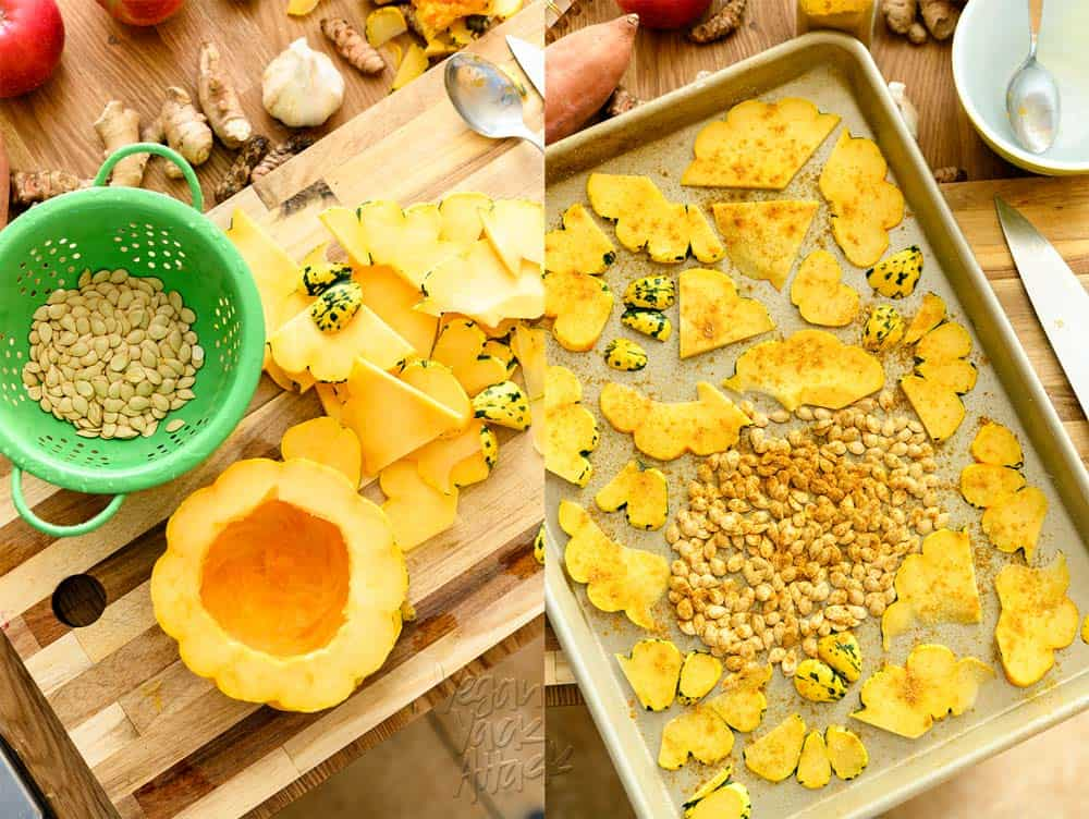 Two photos of squash prep, with a baking sheet for roasting
