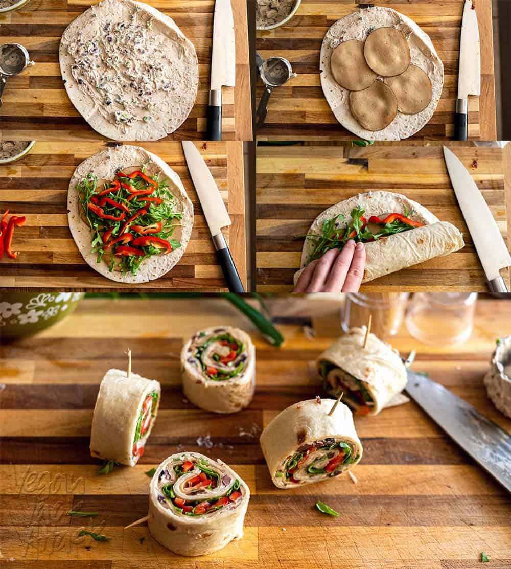 Sequence of images showing how to assemble lunch roll-ups