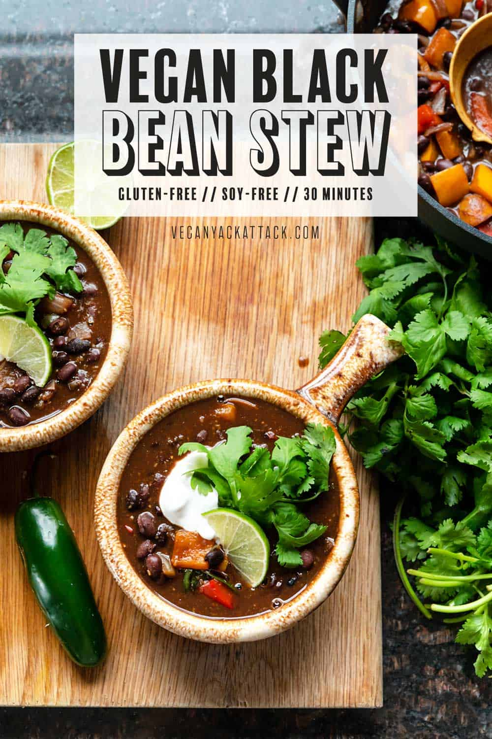 Image of two bowls of black bean stew on a cutting board with fresh cilantro bundle