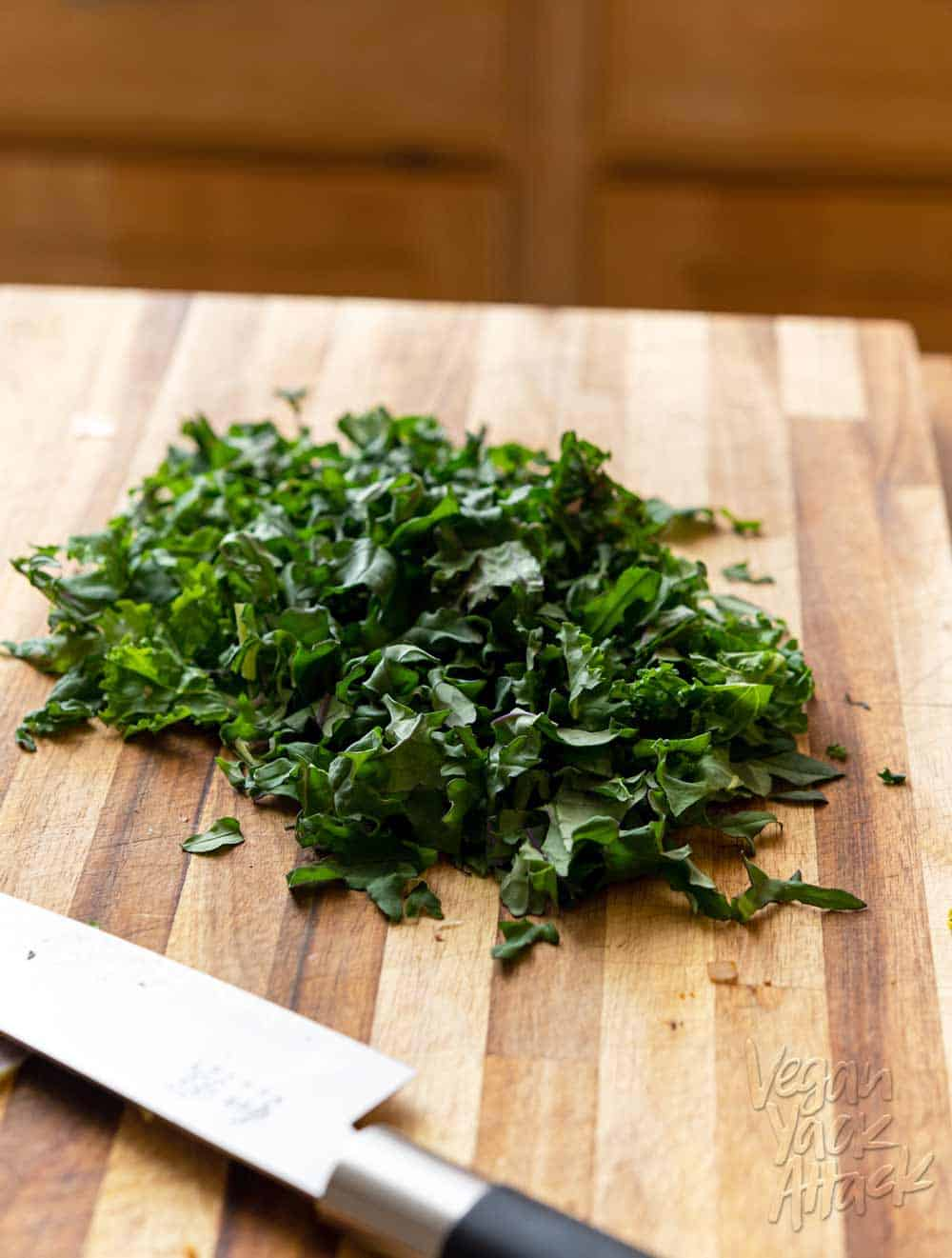 Image of chopped kale on a cutting board