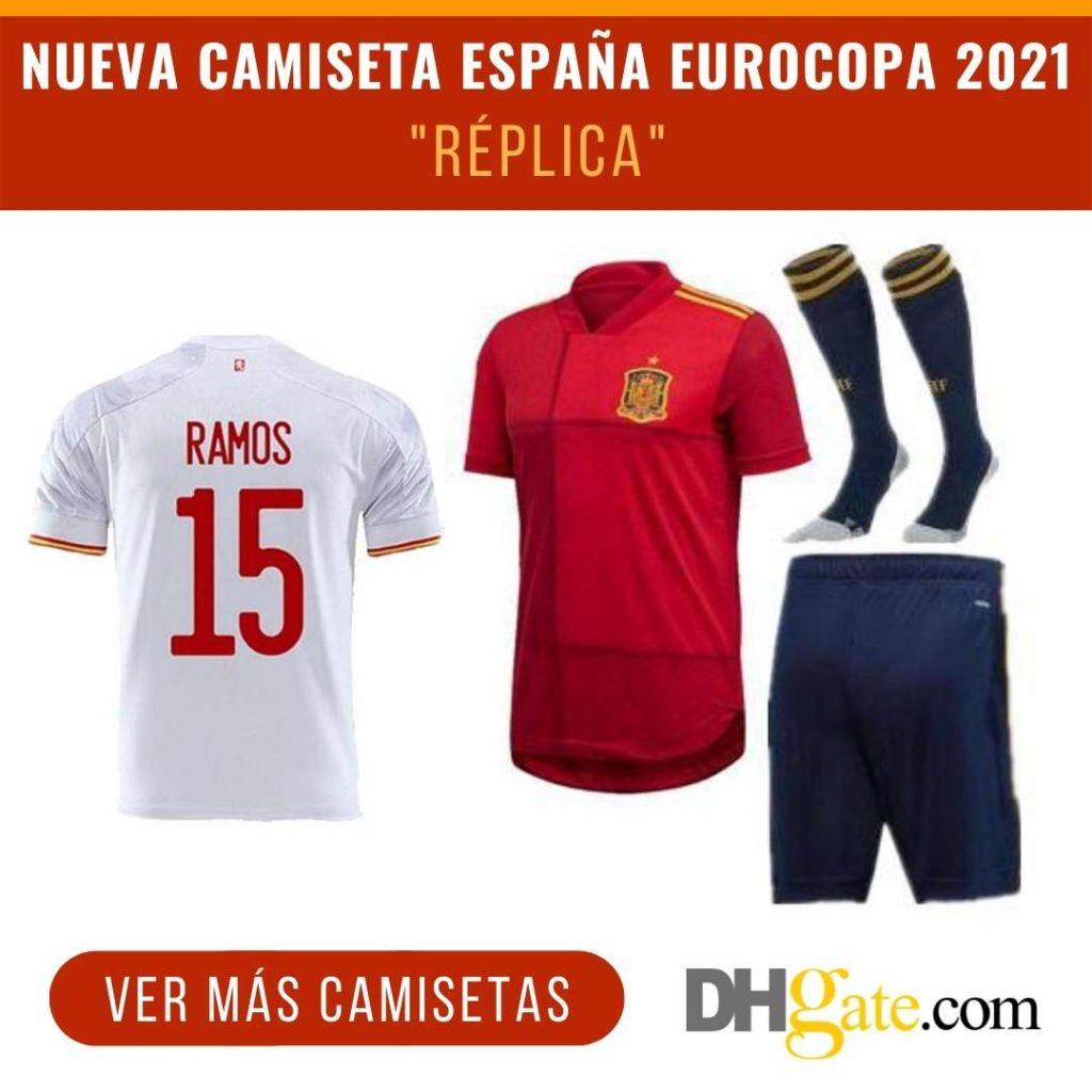 """Camiseta de España Eurocopa 2021 """"réplica"""" en DHgate"""