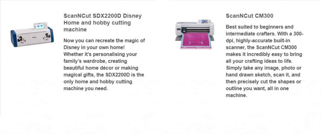 Information on the SDX2200 and CM300 in the post how to choose a Scan N Cut to buy