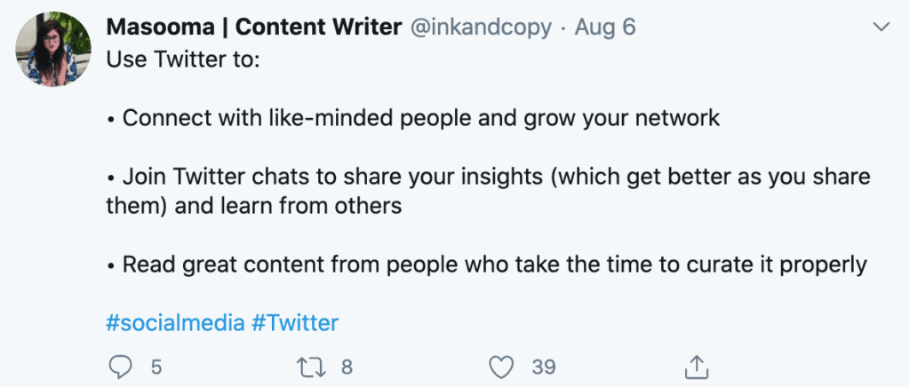 A tweet describing how content writers can use twitter