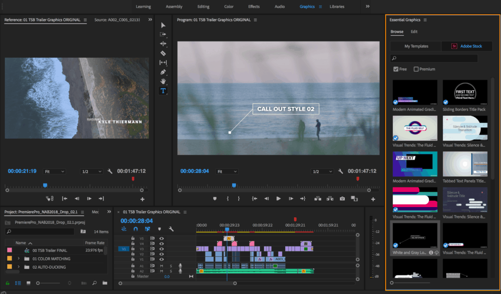 The software interface for Premiere Pro