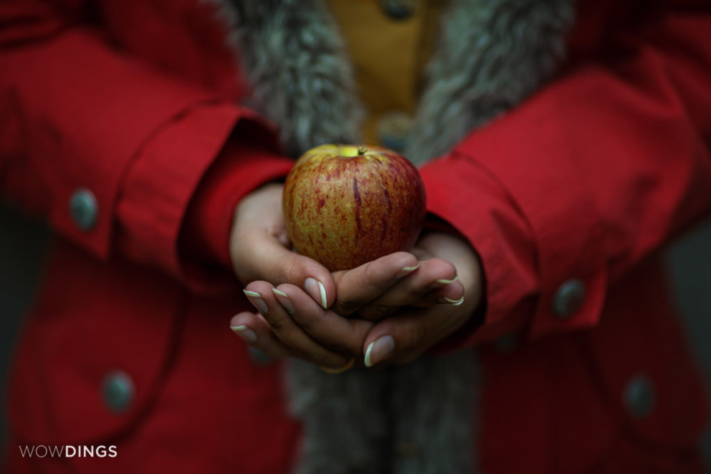 the bride holding a apple in himachal