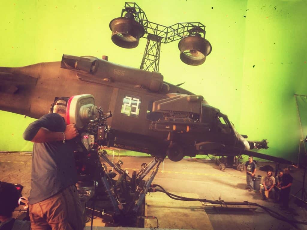 Peter Rosenfeld, SOC shoots an element of the helicopter crash. Photo credit David Ayer, Director