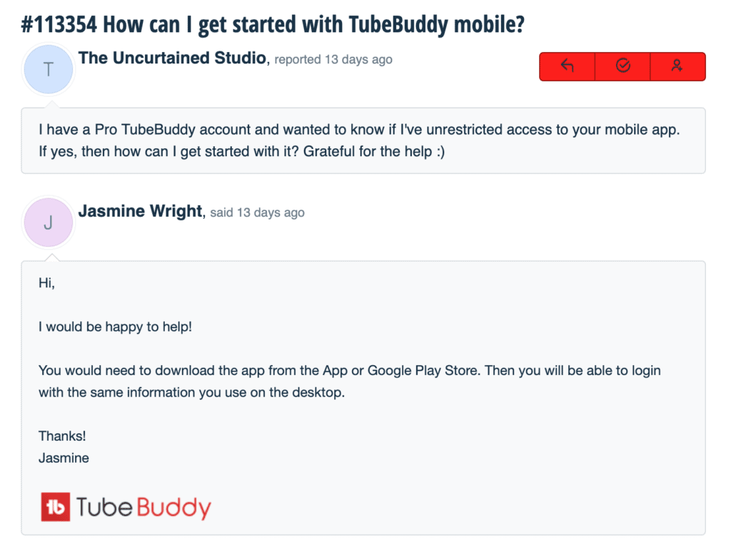 Customer Service email Tubebuddy review