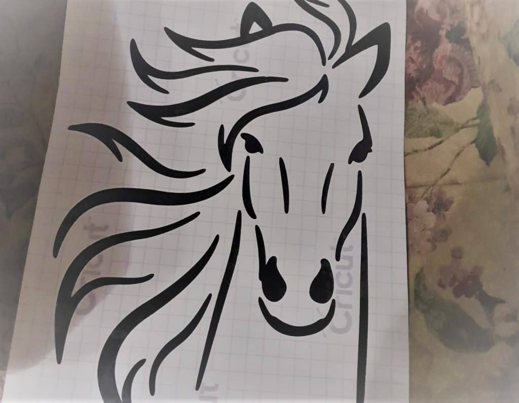 Horse decal made with the Scan N Cut on Cricut vinl