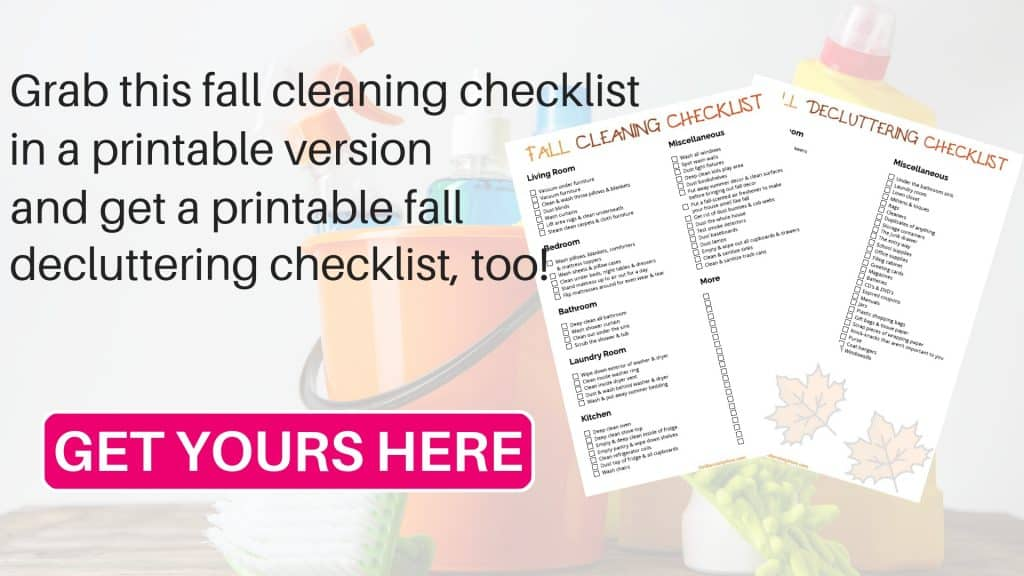 Printable fall cleaning checklist and fall decluttering checklist