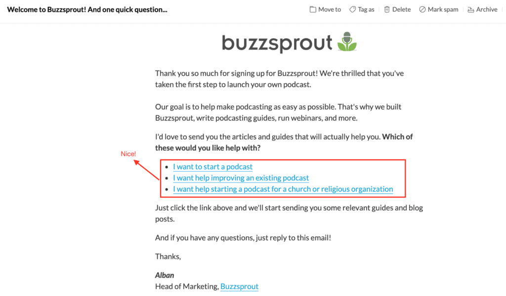 The image is a screen shot of an email from Buzzsprout with various links clicks for FAQs
