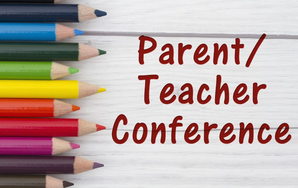 Colored pencils with the words Parent Teacher Conference.