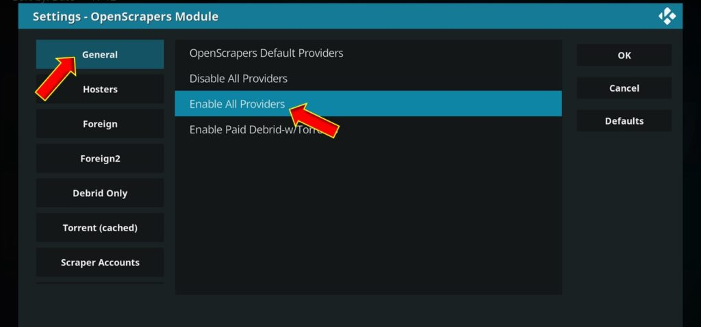 click enable all providers to fix kodi no streams issue