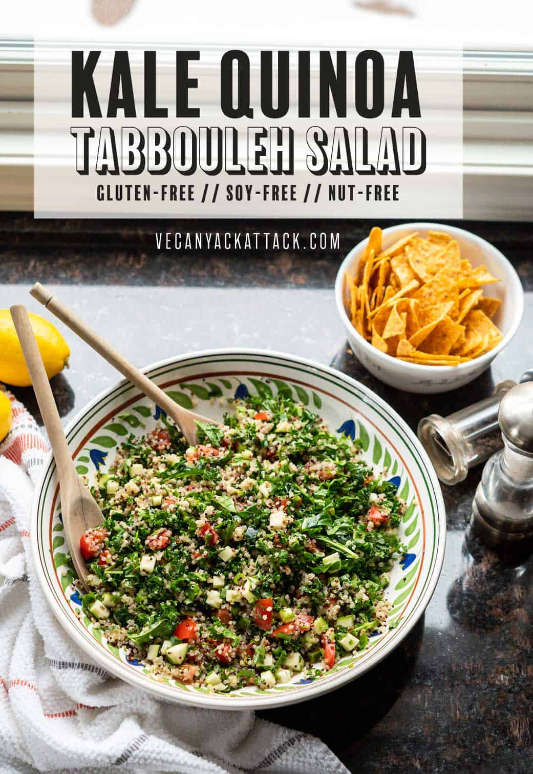 "Image of salad in a large ceramic bowl, on granite countertop, with text reading ""kale quinoa tabbouleh salad"""