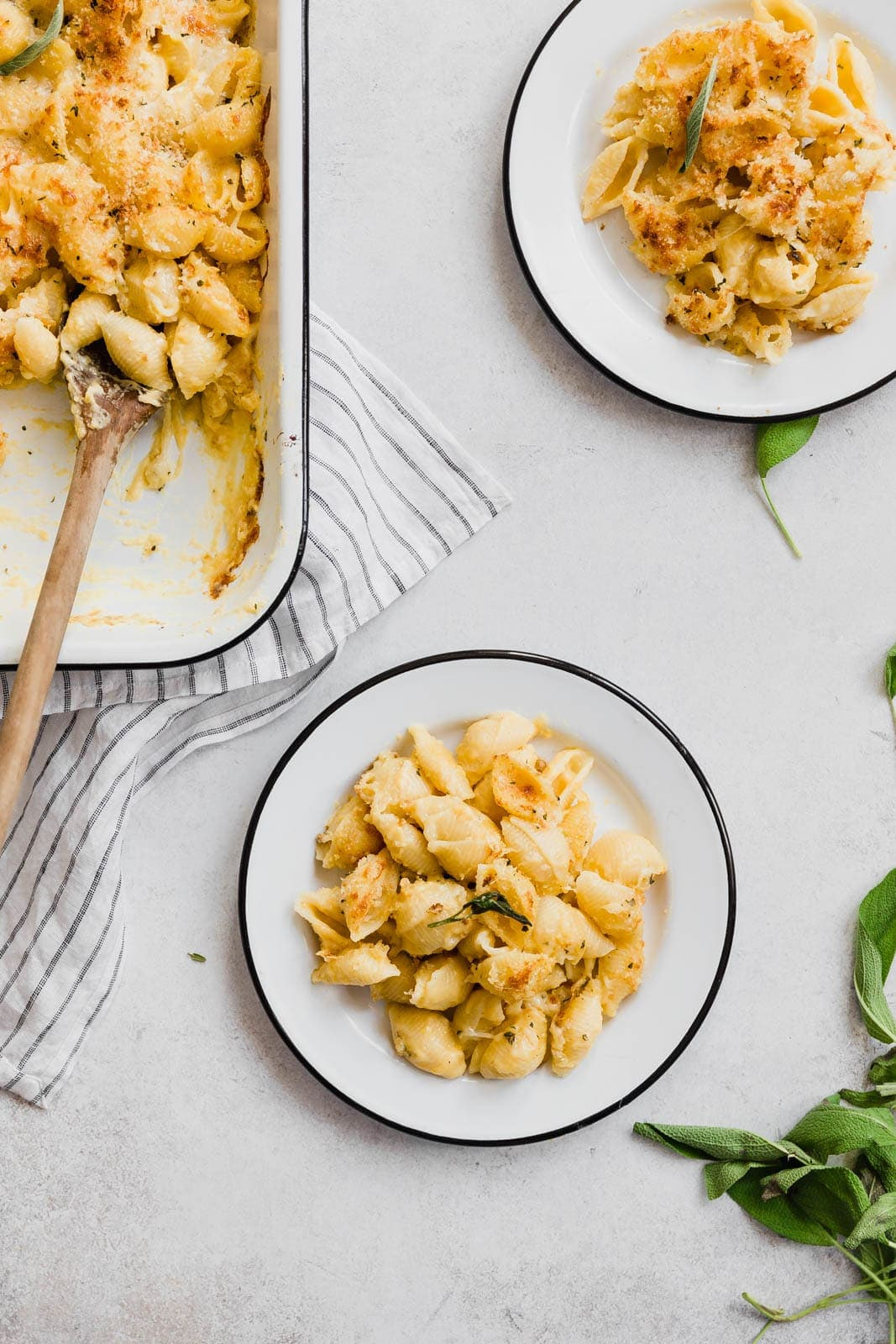 Butternut Squash Mac and Cheese on two plates