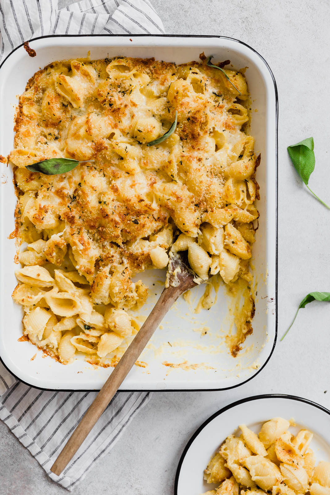 Butternut Squash Mac and Cheese with serving on a plate