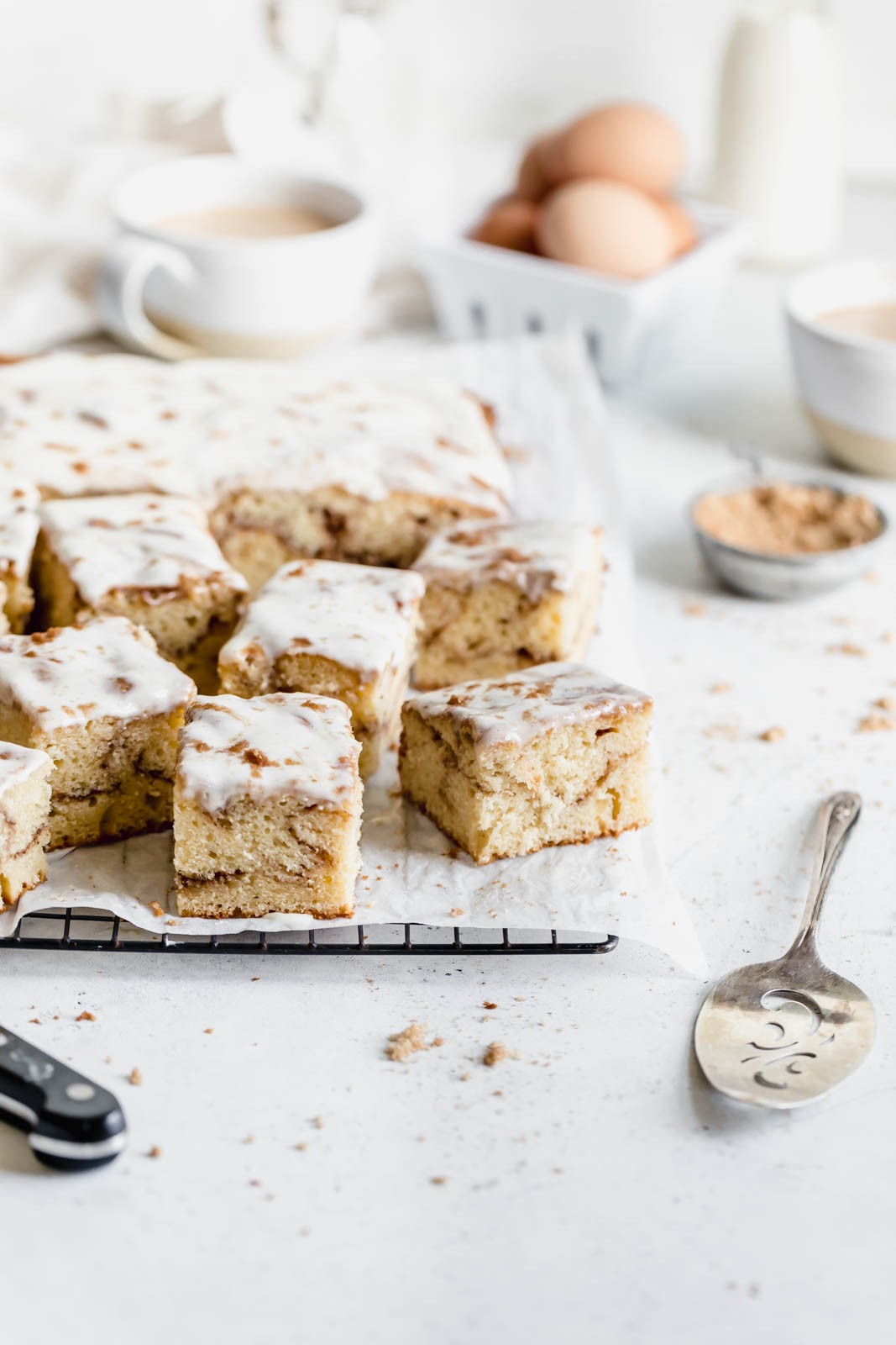 Buttery cinnamon roll cake swirled with ribbons of cinnamon and topped with a cream cheese glaze. All the decadence of a Cinnabon in half the time.