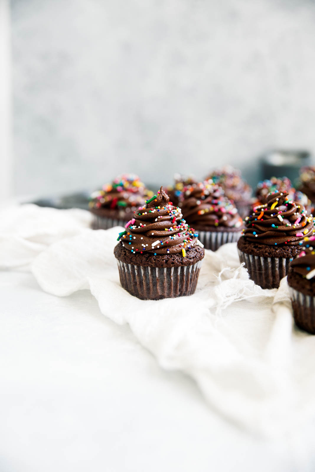 Chocolate Brownie Cupcakes on towel