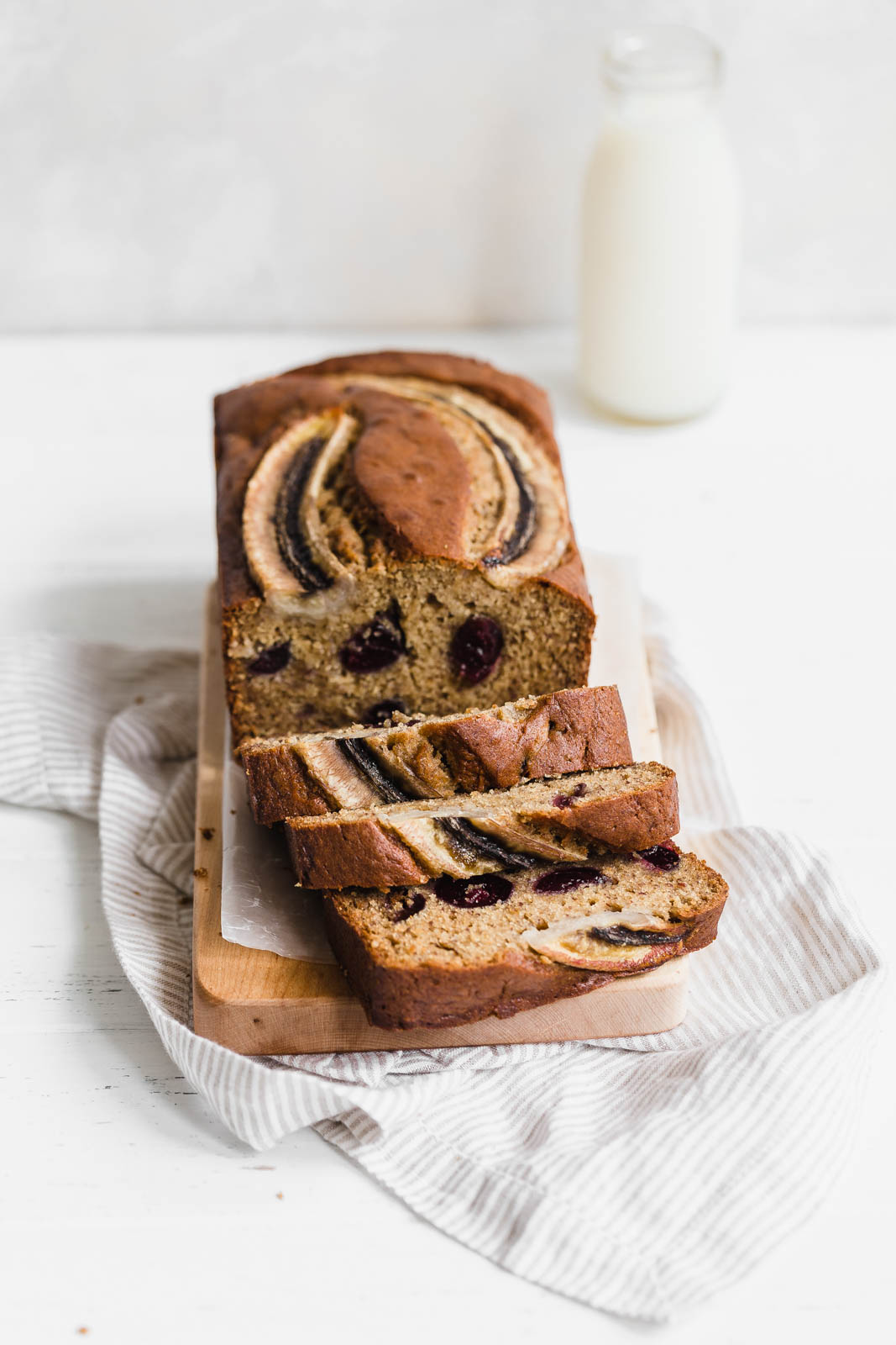 sliced loaf of Bourbon Banana Cherry Bread