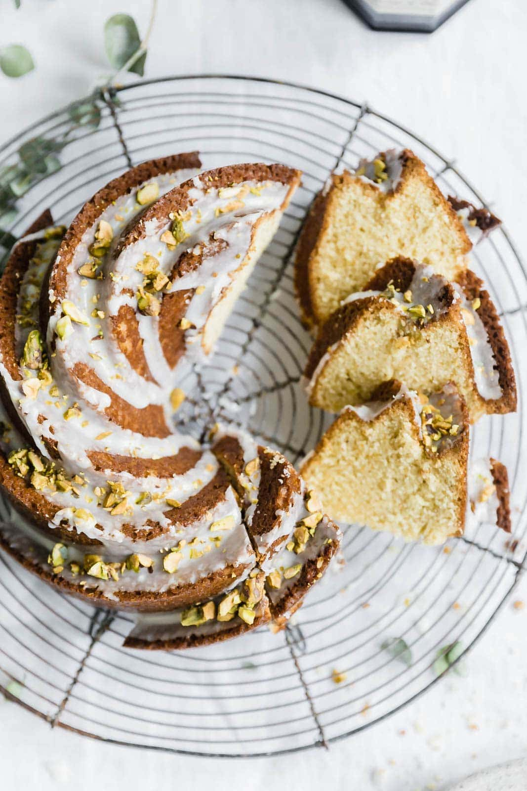 sliced pistachio olive oil cake