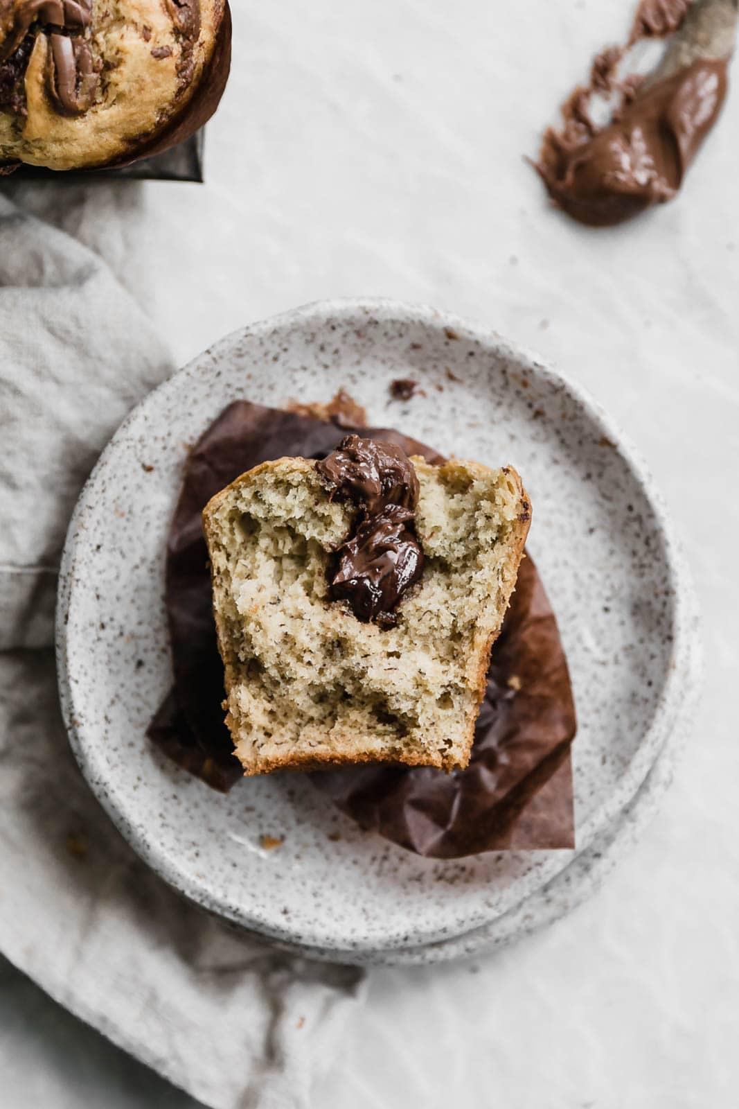 banana nutella muffin cut in half