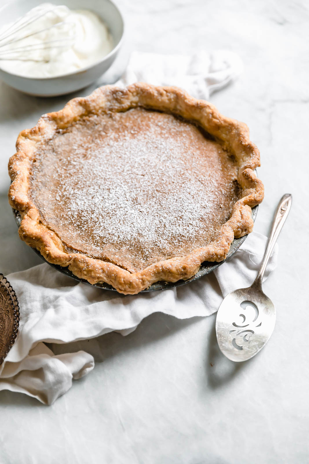 Brown Butter Maple Chess Pie with spatula