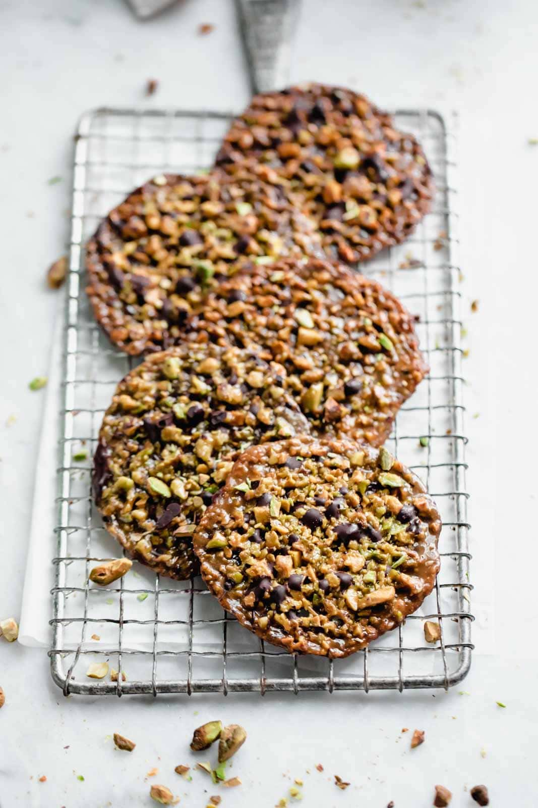 easy lace cookies on a cooling rack