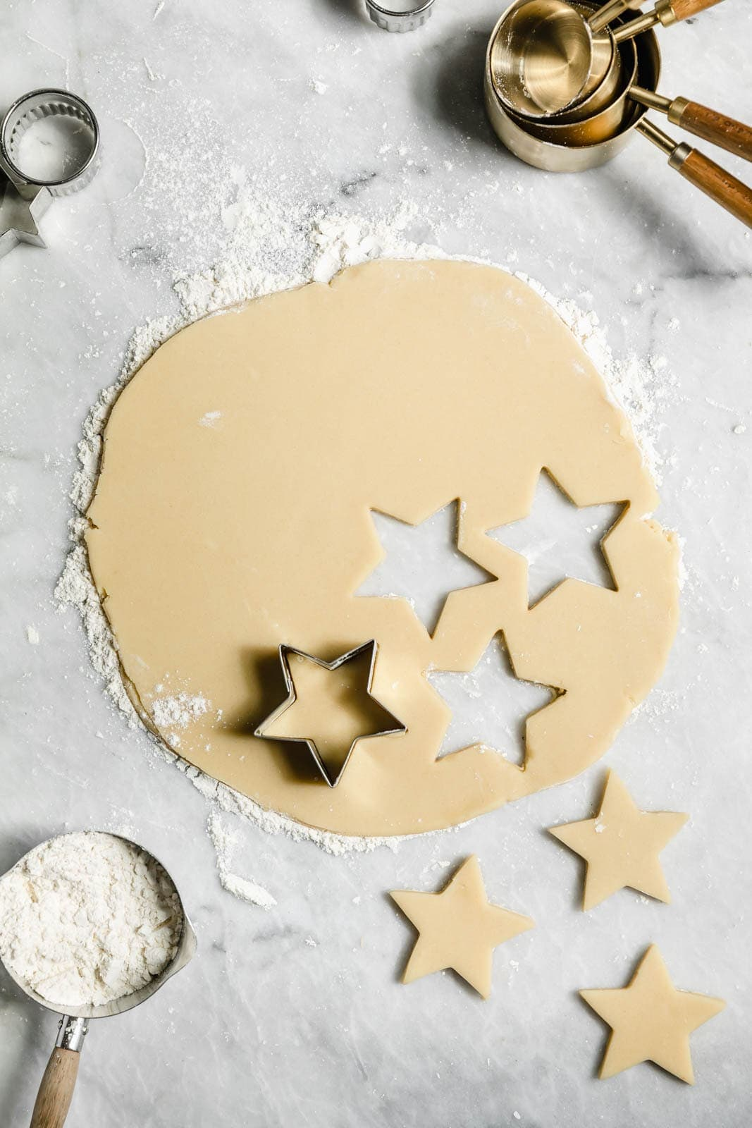 perfect cut out sugar cookies recipe rolled out on a floured surface